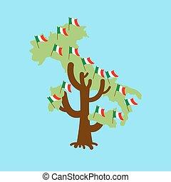 Patriotic tree Italy map. Italian flag. National political Plant. Vector illustration