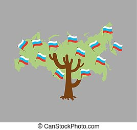 Patriotic tree Russia map. Russian flag. National political Plant. Vector illustration