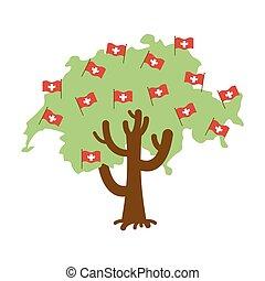 Patriotic tree Switzerland map. Swiss flag. National political Plant. Vector illustration