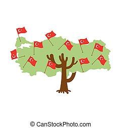 Patriotic tree Turkey map. Turkish flag. National political Plant. Vector illustration