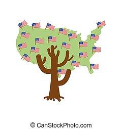Patriotic tree USA map. America flag. National political Plant. Vector illustration