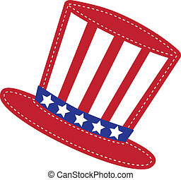 Patriotic Uncle Sam hat, transparent background, vector...
