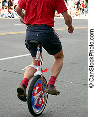 Patriotic Unicycle - Unicyclist in 4th of July Parade