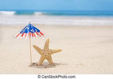 Patriotic USA background with starfishes and decorations on...