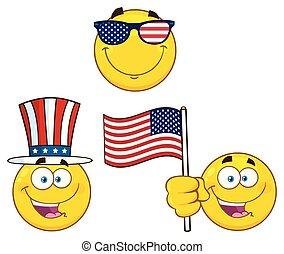 Patriotic Yellow Cartoon Emoji Face Character Set 2. Vector
