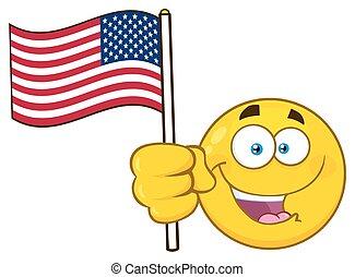 Patriotic Yellow Cartoon Emoji Face Character Waving An American Flag
