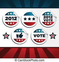 patriotice, vote, autocollants