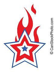 patriotique, étoile, brûlé, usa