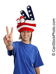 patriotique, adolescent, paix, -, signe
