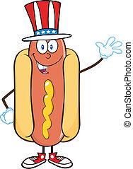 patriotique, américain, chaud, chapeau, chien