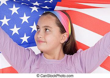 patriotique, américain, peu, drapeau, girl