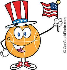 patriotique, basket-ball, chapeau