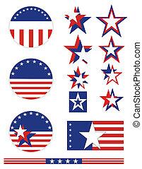 patriotique, bouton, décor