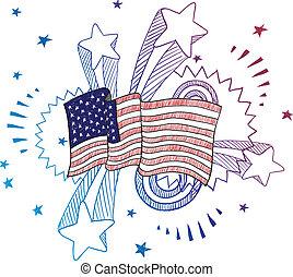 patriotique, drapeau américain, croquis