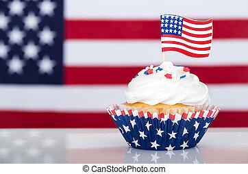 patriotique, drapeau américain, petit gâteau