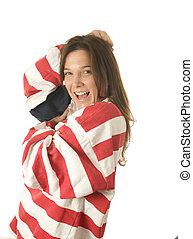 patriotique, drapeau, femme, américain, usa