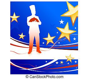 patriotique, fond, chef cuistot