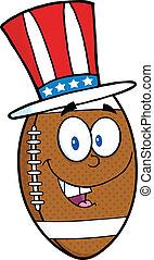 patriotique, football, chapeau, balle