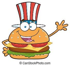patriotique, hamburger, américain, chapeau