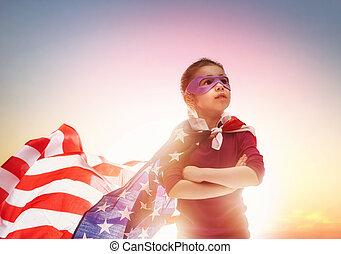 patriotique, heureux, vacances, gosse