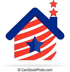 patriotique, maison, logo