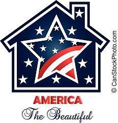 patriotique, maison, vecteur, logo