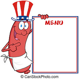 patriotique, menu, saucisse, projection