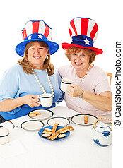 patriotique, partie thé, électeurs