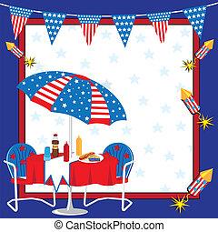 patriotique, pique-nique, invitation