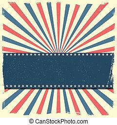patriotique, rayé, bannière, fond