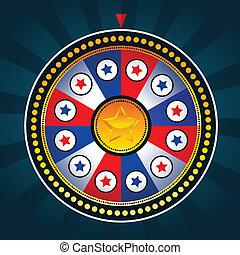 patriotique, roue, fortune, coloré