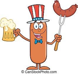 patriotique, saucisse, bière, tenue