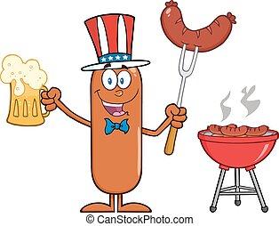 patriotique, saucisse, caractère, dessin animé