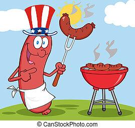 patriotique, saucisse, chapeau, heureux