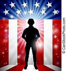 patriotique, soldat, drapeau américain, fond