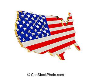 patriotique, usa, raies, étoiles, carte, 3d