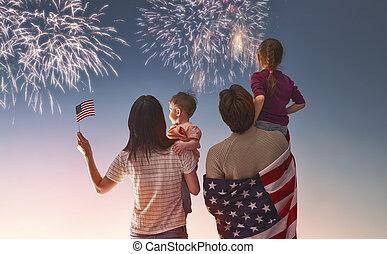 patriotique, vacances, famille heureuse