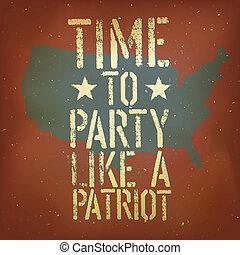 patriotique, vecteur, américain, eps10, affiche