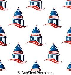 patriotisch, muster, kapitol, seamless