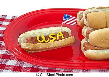 patriotisch, party, heißer hund
