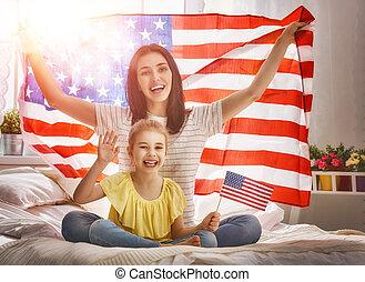 patriotiske, ferie, familie, glade