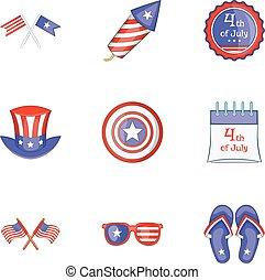 Patriotism day icons set, cartoon style