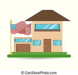 patriotism house with american flag design