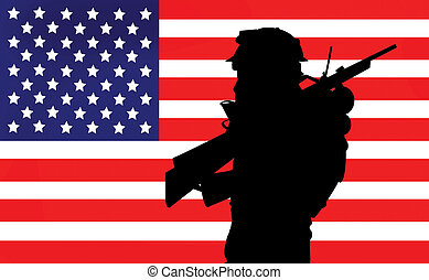 Silhouette of an american soldier against Old Glory illustration