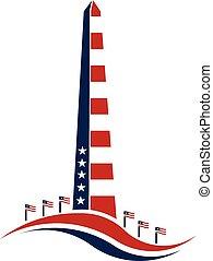 patriotism., vettore, dc, monumento washington, disegno, punto di riferimento, stelle, commemorazione, concetto, grafico, stripes.