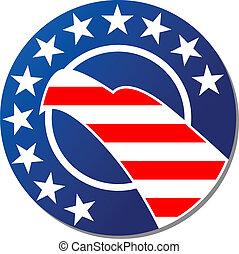 Patriotoc American emblem or badge