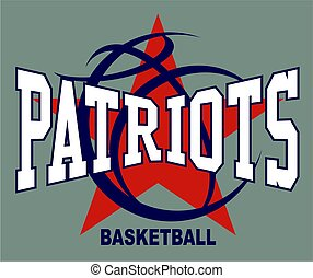 patriots basketball team design with ball and stars for school, college or league