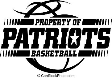 patriots basketball team design with ball for school, college or league