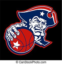 patriots basketball team design with mascot player for school, college or league