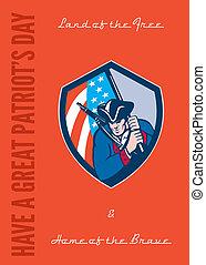 Patriots Day Greeting Card American Patriot Brandishing Flag...